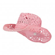 Solid Color Straw Cowboy Hat - Pink