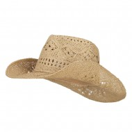 Solid Color Straw Cowboy Hat - Natural