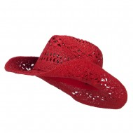 Solid Color Straw Cowboy Hat - Red