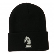 Chess Knight Embroidered Long Beanie - Black