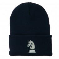 Chess Knight Embroidered Long Beanie - Navy