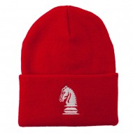 Chess Knight Embroidered Long Beanie - Red