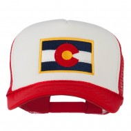 Colorado Flag Embroidered Foam Mesh Cap - Red White