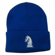 Chess Knight Embroidered Long Beanie - Royal