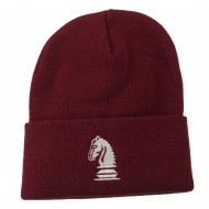 Chess Knight Embroidered Long Beanie - Burgundy