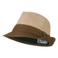 Pleated Straw Band Fedora - Brown