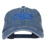 Chills Embroidered Washed Cap - Navy