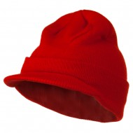 Cuff Knitted Beanie with Visor Bill - Red