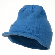 Cuff Knitted Beanie with Visor Bill - Sky Blue