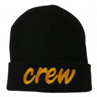 Crew Embroidered Long Knitted Beanie - Black