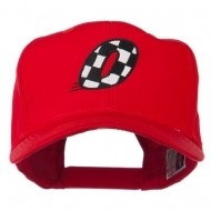 Checkered Flag Numbers Embroidered Red High Profile Cap - 0