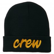 Crew Embroidered Long Knitted Beanie - Navy