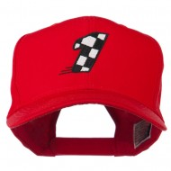Checkered Flag Numbers Embroidered Red High Profile Cap - 1