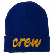 Crew Embroidered Long Knitted Beanie - Royal