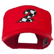Checkered Flag Numbers Embroidered Red High Profile Cap - 2