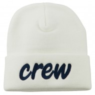 Crew Embroidered Long Knitted Beanie - White