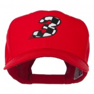 Checkered Flag Numbers Embroidered Red High Profile Cap - 3