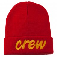 Crew Embroidered Long Knitted Beanie - Red