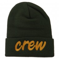 Crew Embroidered Long Knitted Beanie - Olive