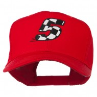 Checkered Flag Numbers Embroidered Red High Profile Cap - 5