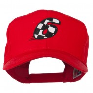 Checkered Flag Numbers Embroidered Red High Profile Cap - 6