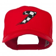 Checkered Flag Numbers Embroidered Red High Profile Cap - 7