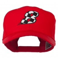 Checkered Flag Numbers Embroidered Red High Profile Cap - 8