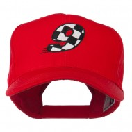 Checkered Flag Numbers Embroidered Red High Profile Cap - 9