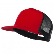 Classic 5 Panel Two Tone Mesh Trucker Snapback Cap - Red Black