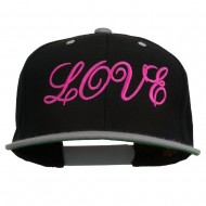 Calligraphy Love Embroidered Snapback Cap - Black Silver