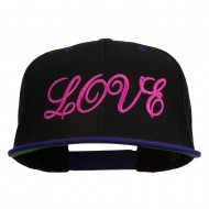 Calligraphy Love Embroidered Snapback Cap - Black Purple