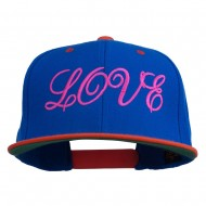 Calligraphy Love Embroidered Snapback Cap - Royal Orange