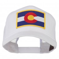 Colorado Western State Embroidered Patched Mesh Back Cap - White