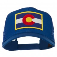 Colorado Western State Embroidered Patched Mesh Back Cap - Royal