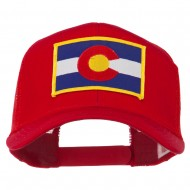 Colorado Western State Embroidered Patched Mesh Back Cap - Red