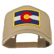 Colorado Western State Embroidered Patched Mesh Back Cap - Khaki