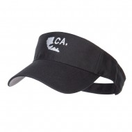 California Map Bear Embroidered Sports Visor - Black