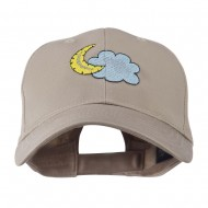 Halloween Cloud and Moon Embroidered Cap - Khaki