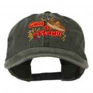 Cinco De Mayo Embroidered Washed Cap - Black