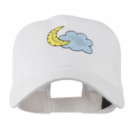Halloween Cloud and Moon Embroidered Cap - White