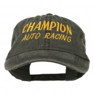 Champion Auto Racing Embroidered Washed Cap - Black
