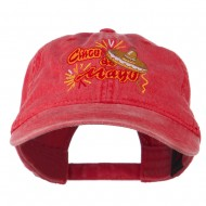 Cinco De Mayo Embroidered Washed Cap - Red