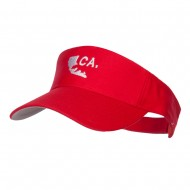 California Map Bear Embroidered Sports Visor - Red