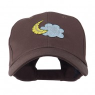 Halloween Cloud and Moon Embroidered Cap - Brown