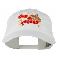 Cinco De Mayo Embroidered Washed Cap - White