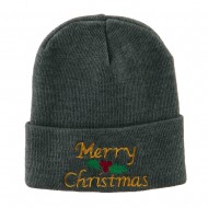 Merry Christmas Embroidered Long Beanie - Grey