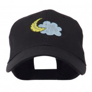 Halloween Cloud and Moon Embroidered Cap - Black