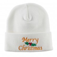 Merry Christmas Embroidered Long Beanie - White