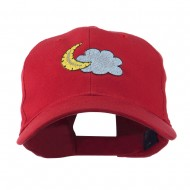 Halloween Cloud and Moon Embroidered Cap - Red