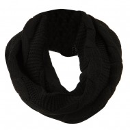 Cable Round Neck Warmer - Black